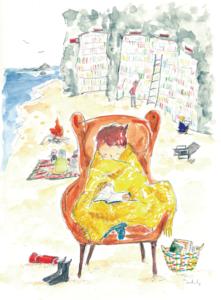 海辺の図書館-Illustration by Ogiue Yukiko